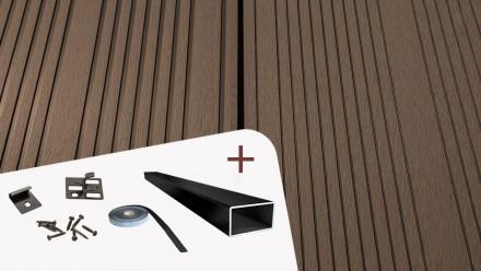 Komplett-Set TITANWOOD XL-Diele dunkelbraun Rillenstruktur