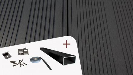 Komplett-Set TITANWOOD XL-Diele dunkelgrau Rillenstruktur