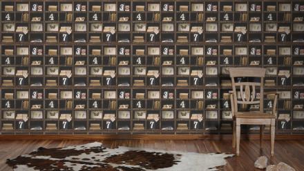 Vinyltapete braun Vintage Holz Blumen & Natur Authentic Walls 2 571