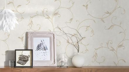 Vinyltapete beige Barock Blumen & Natur Streifen Romantico 182