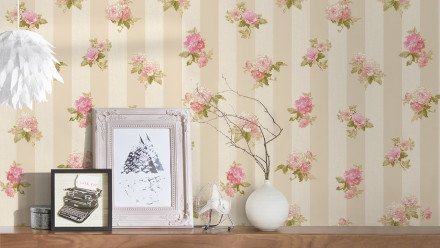 Vinyltapete rosa Vintage Blumen & Natur Styleguide Klassisch 2021 474