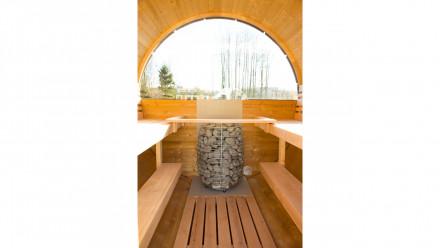 Halbrundglas für Rückwand Saunafass de luxe