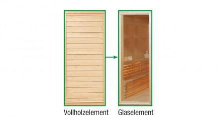 Sauna-Paradiso Glas-Austauschelement anstelle Vollholz
