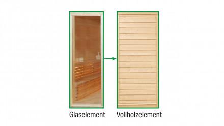 Sauna-Paradiso Vollholz-Austauschelement anstelle Glas