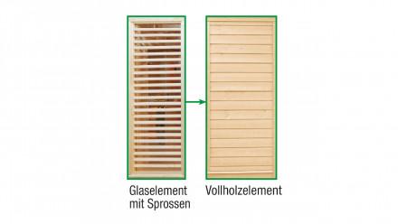 Sauna-Paradiso Vollholz-Austauschelement anstelle Sprossen