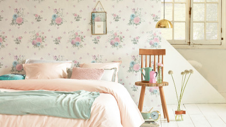 Tapete Djooz 2 Livingwalls Vintage Blumen Bunt Creme Rosa 735