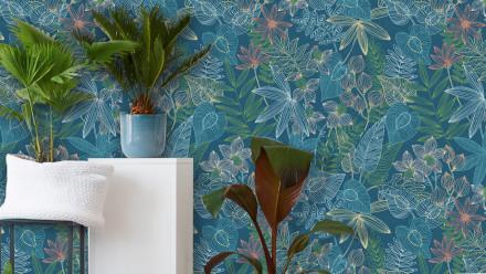 Vinyltapete Colibri Livingwalls Modern Blätter Wald Blau Grün Gelb 301