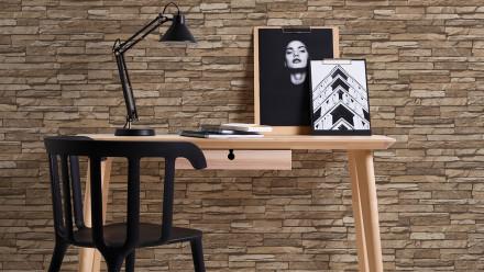 Vinyltapete Best of Wood`n Stone 2nd Edition A.S. Création Steinwand Beige Braun 332