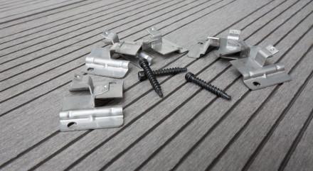 planeo Edelstahl-Terrassenclip WPC-Profi 4mm Fuge - 100 St. inkl. Schrauben