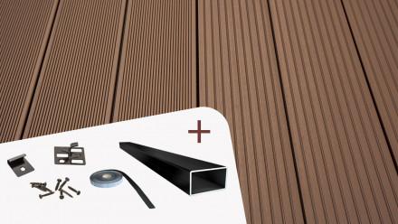 Komplett-Set TitanWood 4m Massivdiele Rillenstruktur dunkelbraun 8.2m² inkl. Alu-UK