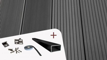 Komplett-Set TitanWood 4m Massivdiele Rillenstruktur dunkelgrau 8.2m² inkl. Alu-UK