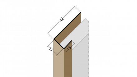 planeo Protect Abschlussprofil - AP 17mm Aufnahme 5000mm Länge braun