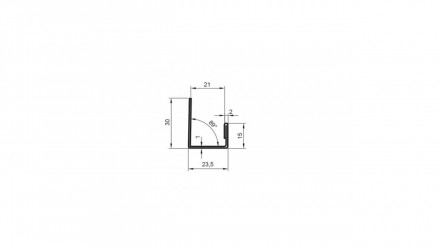 planeo Alu-Abschlussprofil - AP 21mm Aufnahme 3000mm Länge Aluminium-natur