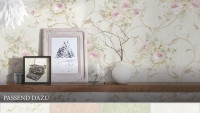 Vinyltapete Best of Vlies A.S. Création Vintage Vintage Blumenranken Creme Grün Rosa 202