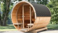 Vollglasfront für Frontwand Saunafass de luxe