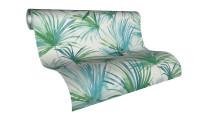 Vinyltapete Colibri Livingwalls Modern Palmenblätter Blau Grün Weiß 242