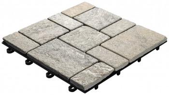 planeo Klickfliese Stone - Quarz Roma Grau