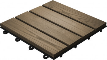 planeo Holz-Terrassenfliese Thermoesche glatt 30x30 cm - 6 Stk