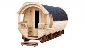 planeo Saunafass Premium Svenja 1 montiert naturbelassen