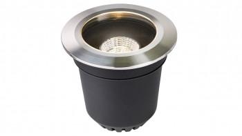 planeo Gartenbeleuchtung 12V - LED-Einbauleuchte Atik R2 Einbaustrahler Edelstahl LED dimmbar - 9W 750Lumen