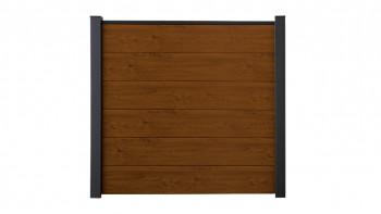 planeo Basic - PVC-Steckzaun Quadratisch Golden Oak 180 x 180 cm