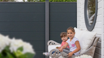 planeo Basic - PVC-Steckzaun Quadratisch Anthrazitgrau 180 x 180 cm