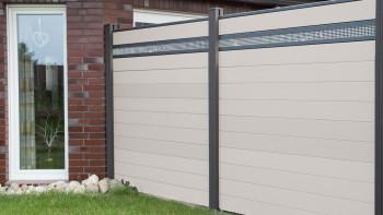 planeo Solid - Gartenzaun Designblende Alu15 BiColor Weiß