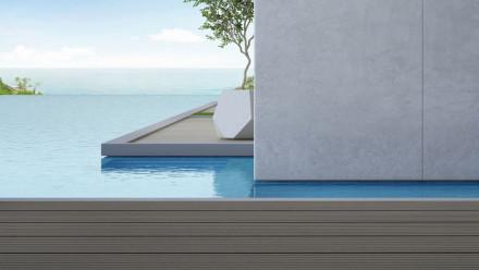 Planche de terrasse en WPC gris clair massif - rainuré/rainuré