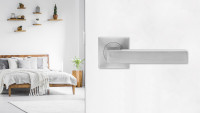 Béquille de siège ER46Q en acier inoxydable satiné - roses carrées de salle de bain