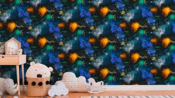 Garçons et filles 6 A.S. Création papier peint pour enfants Galaxy multicolore noir 661