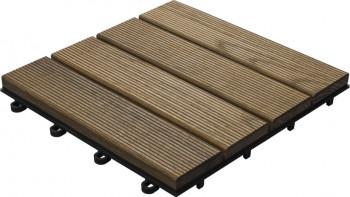 planeo carreau de terrasse en bois thermo frêne cannelé 30x30 cm - 6 pcs.