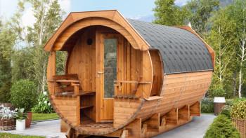 baril de sauna planeo Premium Svenja 2 monté sur thermowood