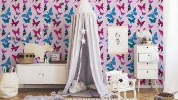 Garçons et filles 6 A.S. Création papier peint pour enfants papillons bleu noir violet 342