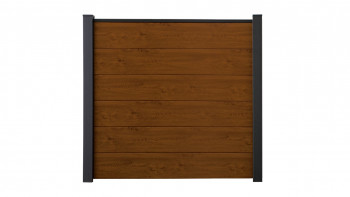 planeo Basic - Clôture à fiches en PVC Carré Chêne doré 180 x 180 cm
