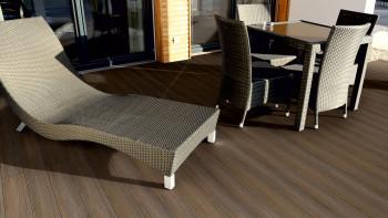 planeo CoEx-Line BPC planche massive Noyer/Marron noir - Texture du bois