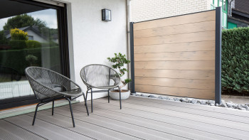clôture planeo TitanWood brun-gris brossé