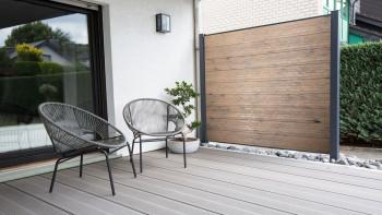 clôture planeo TitanWood vieillie en brun-gris