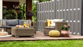 clôture préfabriquée planeo - carré gris clair 180 x 180cm