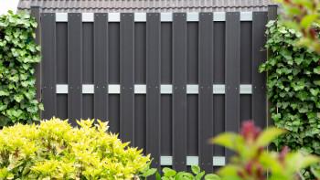 clôture préfabriquée planeo - carré anthracite 180 x 180cm