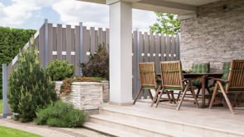 clôture préfabriquée planeo - carré Bi-Color blanc 180 x 180cm