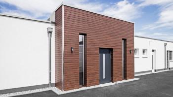 planeo Fassado - WPC bande rhomboïdale habillage de façade marron