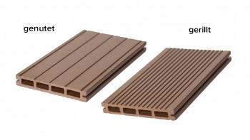 planeo WPC planche de terrasse chambre creuse brun clair - cannelée / rainurée