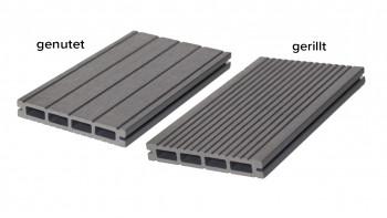 planche de terrasse planeo WPC chambre creuse gris clair - cannelée / rainurée