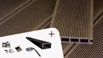 Ensemble complet planeo ECO-Line chambre creuse brun foncé structure rainurée