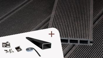 Ensemble complet planeo ECO-Line chambre creuse gris foncé structure rainurée
