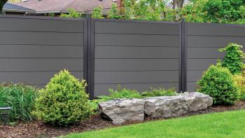 planeo Viento - clôture de jardin carrée gris anthracite avec cadre en aluminium anthracite