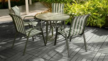 planeo WPC carreau de patio gris 30x30 cm - 6 pcs.